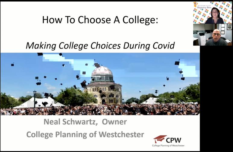 Screenshot of how to choose a college webinar